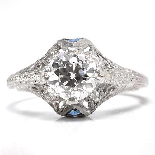 Antique Vintage diamond engagement ring 1.31 GIA H VS2 old European diamond. Edwardian - Art Deco.