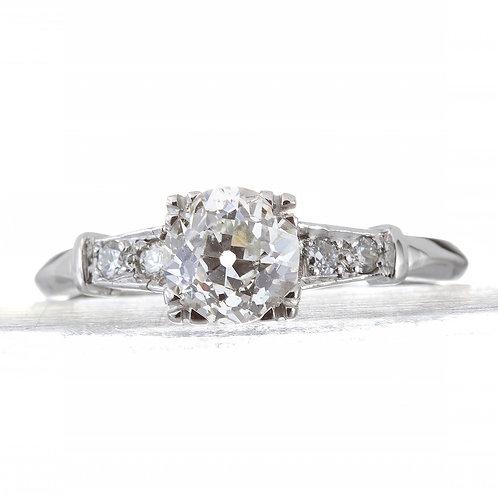 Vintage diamond engagement ring 1.16 ct GIA J Si1 old European cut diamond. Platinum. Art deco.