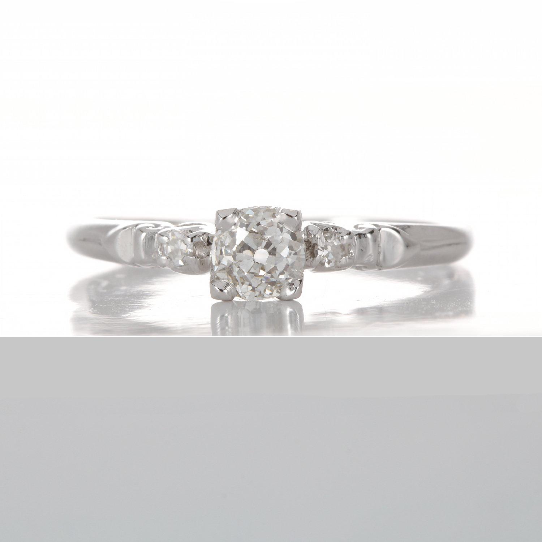Vintage Diamond engagement ring  36 ct K i1 old European  Platinum  Art  deco