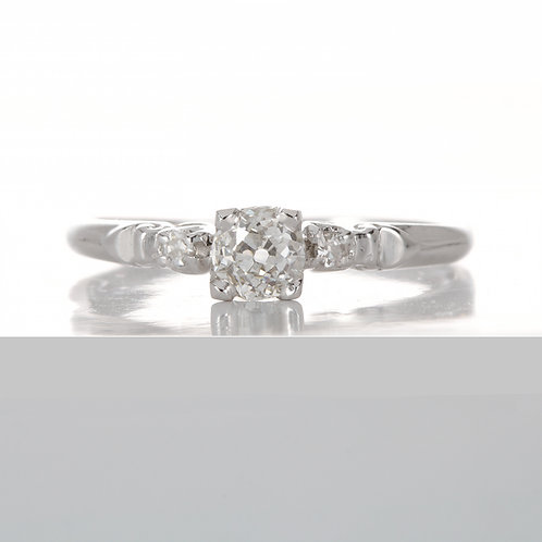 Vintage Diamond engagement ring .36 ct K i1 old European. Platinum. Art deco.