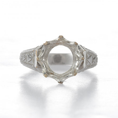 intage engagement ring setting. 18kt white gold. Solitaire setting Art deco circa 1930's. Fits 9.5mm round.