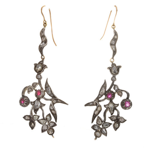 Upcycled antique Georgian diamond and ruby earrings. Rose cut diamonds.
