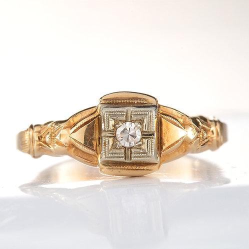 Vintage Engagement ring 2mm single cut diamond 10kt rose gold Art Deco