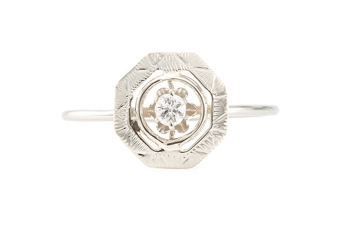 Upcycled Diamond engagement ring .08ct round brilliant. 14kt. Converted from vintage stick pin.
