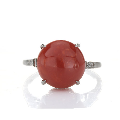 Antique natural oxblood coral, diamond and platinum cocktail ring. Edwardian.