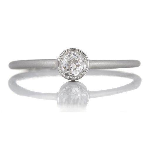Upcycled antique old mine cut diamond engagement ring .26 . Platinum. Handmade.