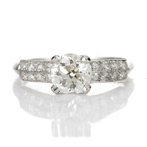 Vintage diamond engagement ring 1.02 ct GIA L Si1 old European cut diamond. Platinum. Art Deco.