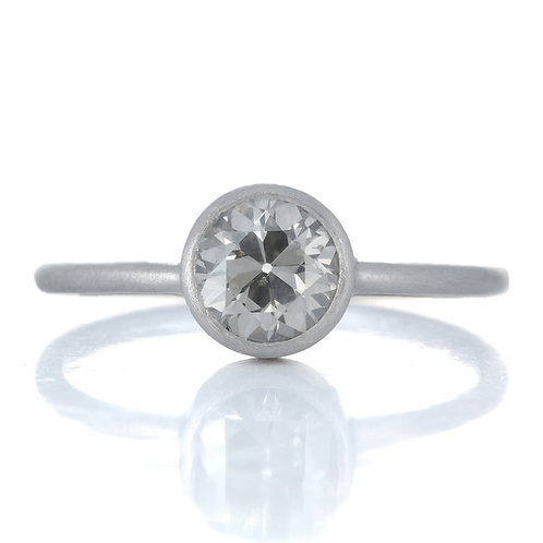 0.76 ct  natural gray i1 old European diamond engagement ring with GIA report.