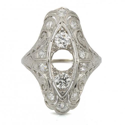 Antique diamond and platinum cocktail ring setting. Edwardian circa 1900.