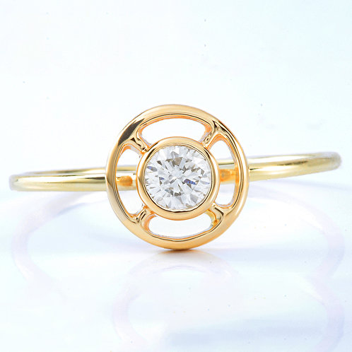 Upcycled Diamond engagement ring .20 round brilliant.14kt. Converted vintage stick pin.