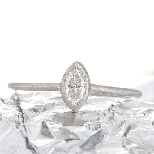 Diamond engagement ring .31ct J-K Si1 marquise cut. Recycled platinum. Handmade.
