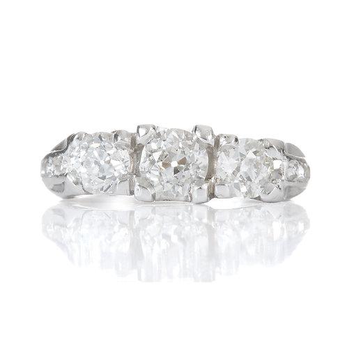 Antique 3 diamond ring 1.1ct tot. Center GIA .46ct i Si2 old European diamond.