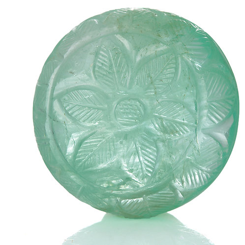 54ct Carved Mughal Style natural Emerald with GIA report.
