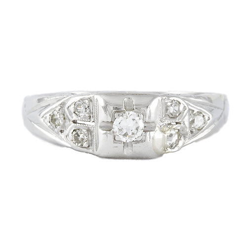 Vintage diamond engagement ring .15 J+ Si1+ old European cut platinum Art deco