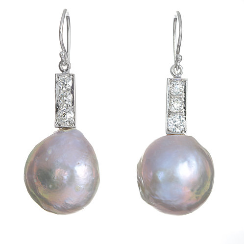 New Upcycled antique cultured pearls and diamonds earrings. Platinum.