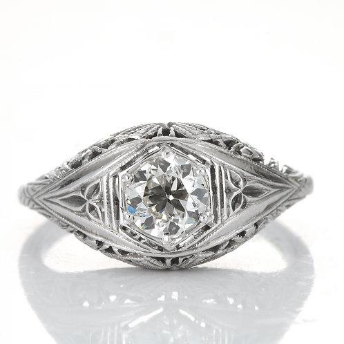 Vintage diamond engagement ring. .59 GIA J VS1 old European cut diamond. 18kt. Art Deco.