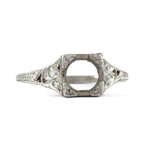 Antique vintage engagement ring settingdiamonds platinum. Fits 6.5mm round. Edwardian circa 1900. Filigree. Estate ring.
