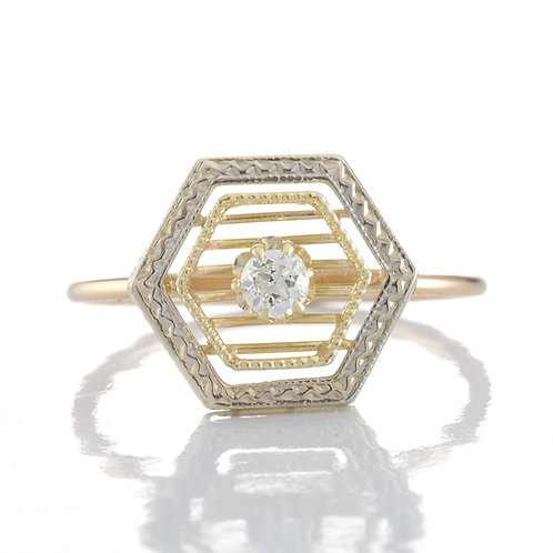 Diamond ring - engagement ring converted from vintage stick pin. .10ct.
