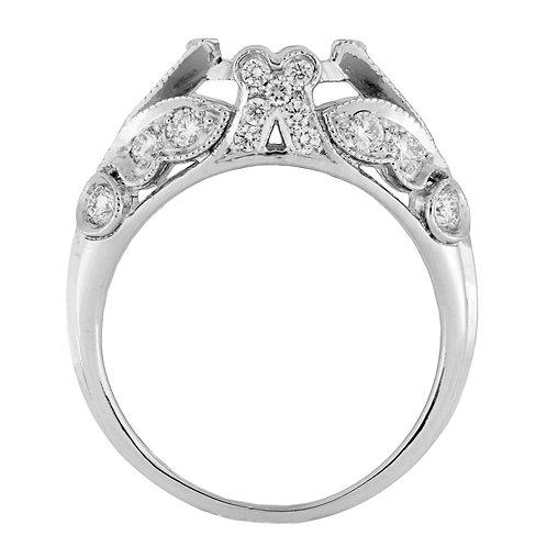 Replica vintage engagement ring setting. Diamonds. Platinum. Fits 6.5mm