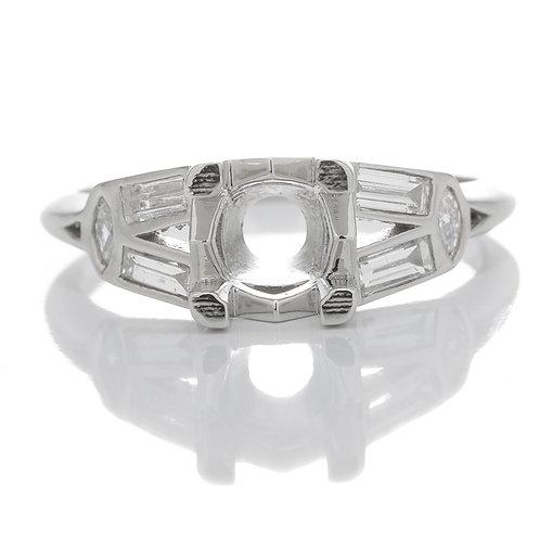 Replica Art deco engagement setting. Diamonds. Platinum. Fits 6mm round. Reproduction antique engagement ring.