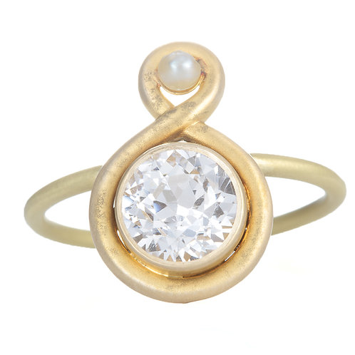 Upcycled antique white sapphire ring. 14kt Gold. Converted antique stick pin.