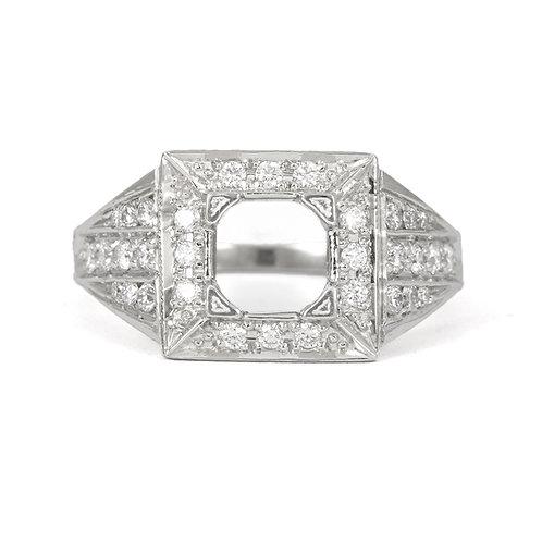 Replica vintage engagement ring setting. Diamonds. Platinum. Fits 6.4mm round.