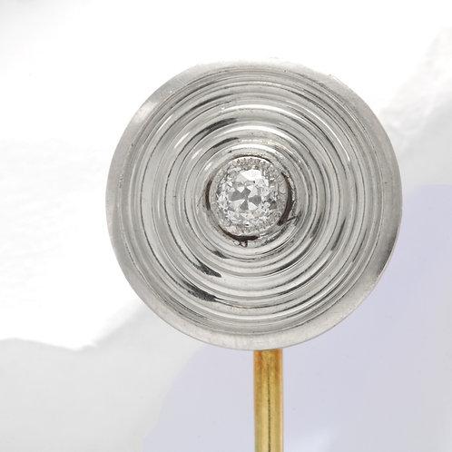 Antique old European cut diamond stick pin. Circa 1910.