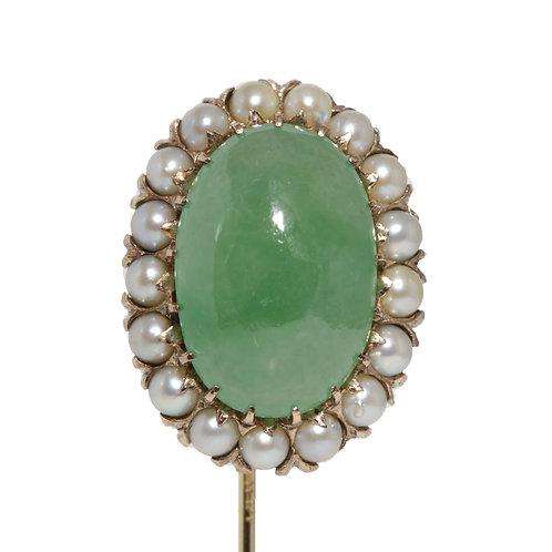 GIA vintage all natural Jadeite Jade stick pin. Pearls, 14kt gold. Circa 1940s.