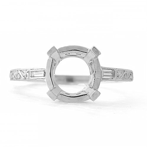 Reproduction antique engagement ring. Replica vintage engagement ring setting. Diamonds. Platinum. Fits 9mm round.