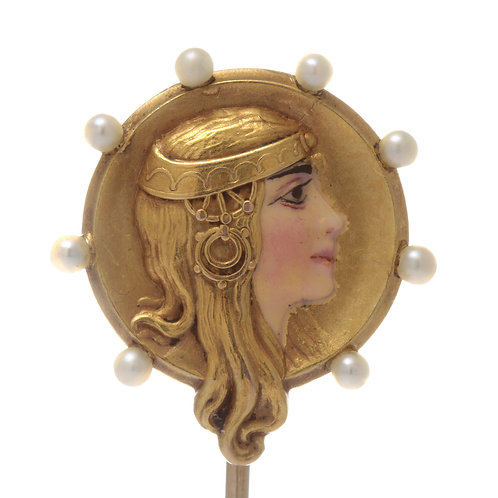 Antique Egyptian revival Cleopatra stick pin. 14kt gold. Pearls. Enamel.
