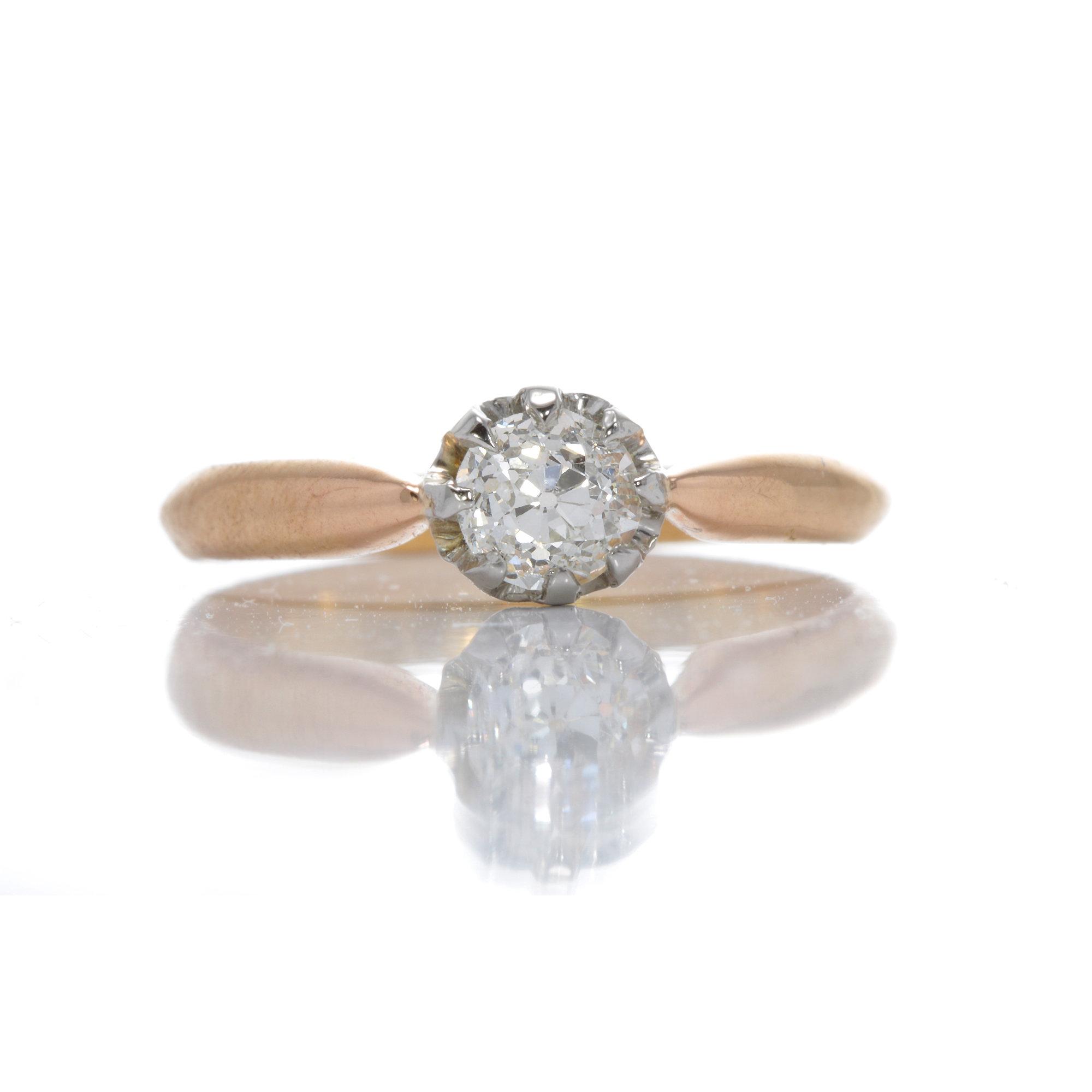 Vintage Diamond engagement ring .46ct j vs2 old European. Platinum. 18kt.  1920s.