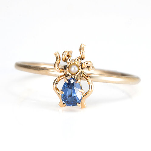 Upcycled antique sapphire insect ring. 14kt Gold. Converted antique stick pin.