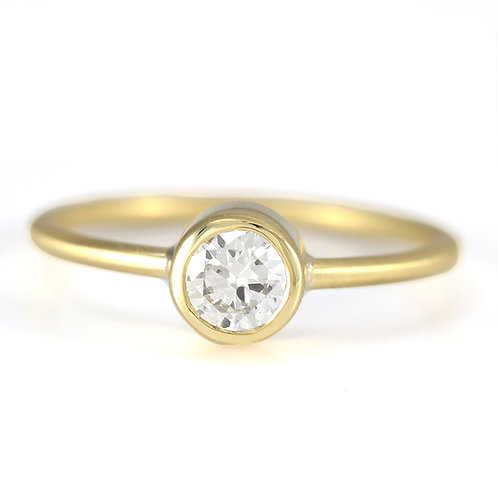 Upcycled old European cut Diamond engagement ring .36ct. 18kt gold. Handmade.