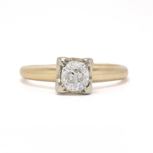 Vintage Diamond Engagement ring .54 ct JSi2 Old Mine cut. 14kt gold. Art deco.