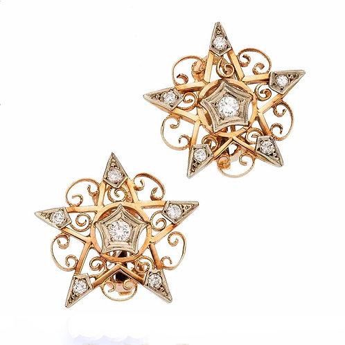 Vintage diamonds and 14kt gold star earrings. Retro circa 1940's. Clip on. Masonic.