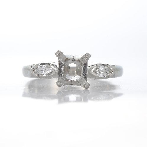 Vintage Engagement ring setting. Diamonds. Platinum. Art deco. Fits 6.1 mm round. Marquise side diamonds. Estate ring.