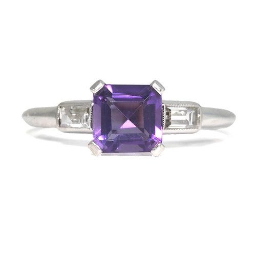 Art deco Amethyst, diamonds, platinum engagement ring, cocktail ring.