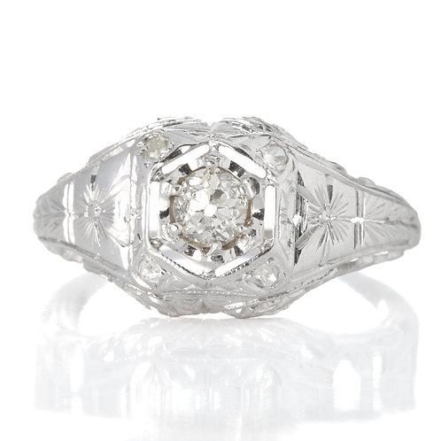 Vintage Diamond engagement ring .24 old European cut diamond 14kt white gold