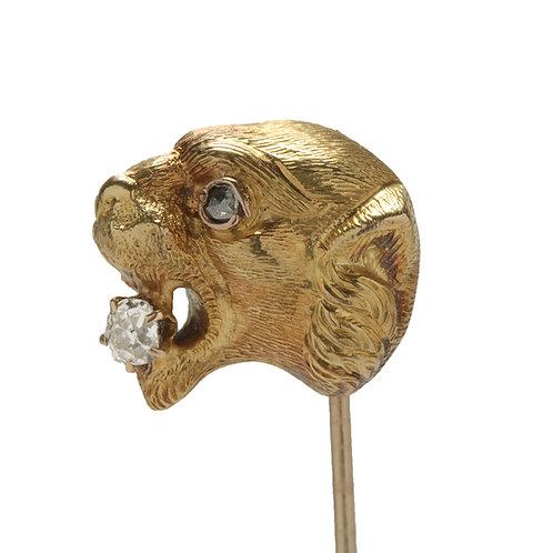 Antique Panther stick pin. Old mine diamond, rose cut diamond, 14kt gold, 1800s.