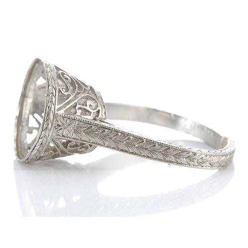 Antique Platinum Engagement Ring Setting. Edwardian. Fits 11.5mm round.