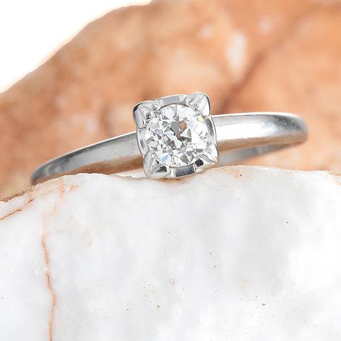 Vintage Diamond engagement ring .31 GIA i Si1 old European. Platinum. Art deco.