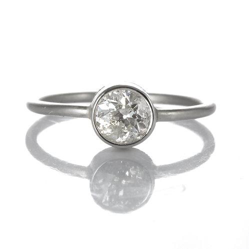 Diamond engagement ring .66ct old European cut. Platinum. Upcycled Edwardian.