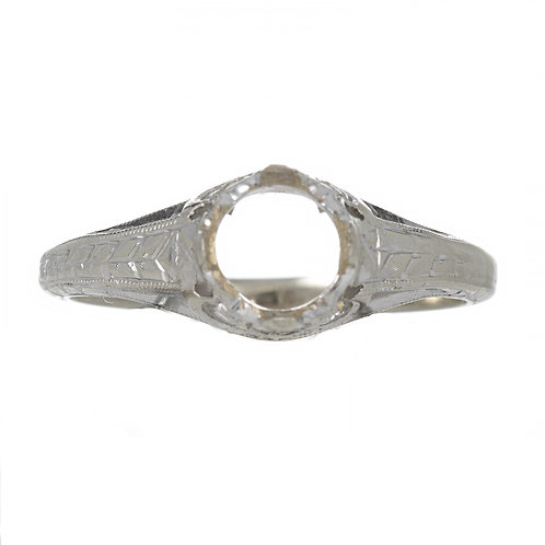 Vintage Engagement ring setting. Diamonds. 18kt white gold. Fits 6mm round. Estate ring circa 1930s.
