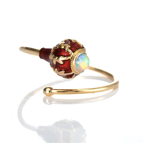 Upcycled antique opal bypass ring. 14kt. Converted antique stick pin.