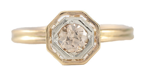 Upcycled old European cut diamond engagement ring .30ct. 14kt. Converted from vintage stick pin.