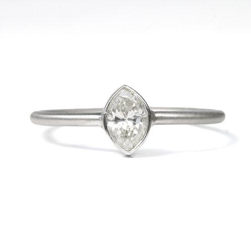 Diamond engagement ring .34 marquise cut. Platinum. Handmade. Recycled.