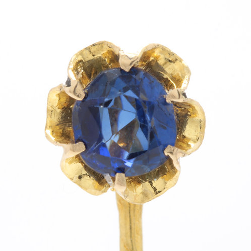 Antique  Sapphire stick pin. GIA report .71ct Sapphire, no heat.