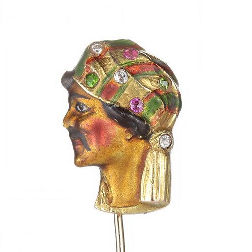 Antique gold sheik stick pin. Diamonds, rubies, demantoid garnets, enamel, 14kt.
