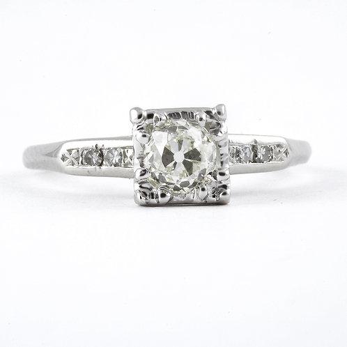 Vintage diamond engagement ring. .51 L Si1 old European cut. Platinum. Art deco.