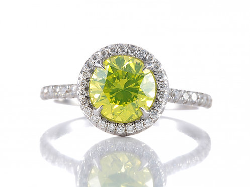Diamond engagement ring 1.51ct GIA Si2, HPHT Processed Fancy Vivid Green Yellow color.18kt white gold.